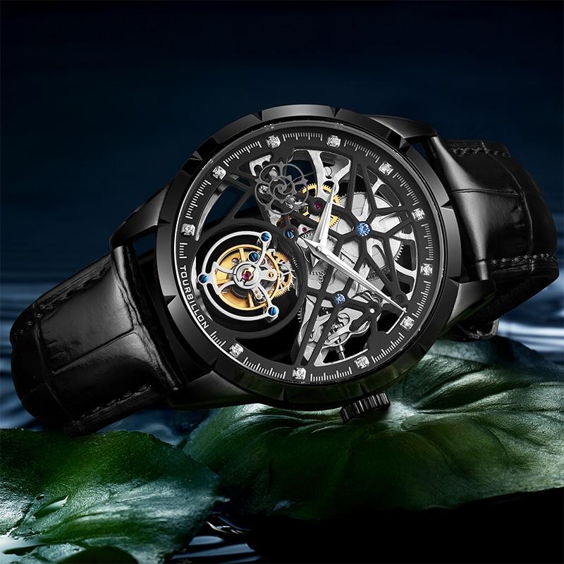 Super New Model GUANQIN Original Tourbillon business men watch top brand luxury Skeleton Sapphire  clock men Relogio Masculino 3