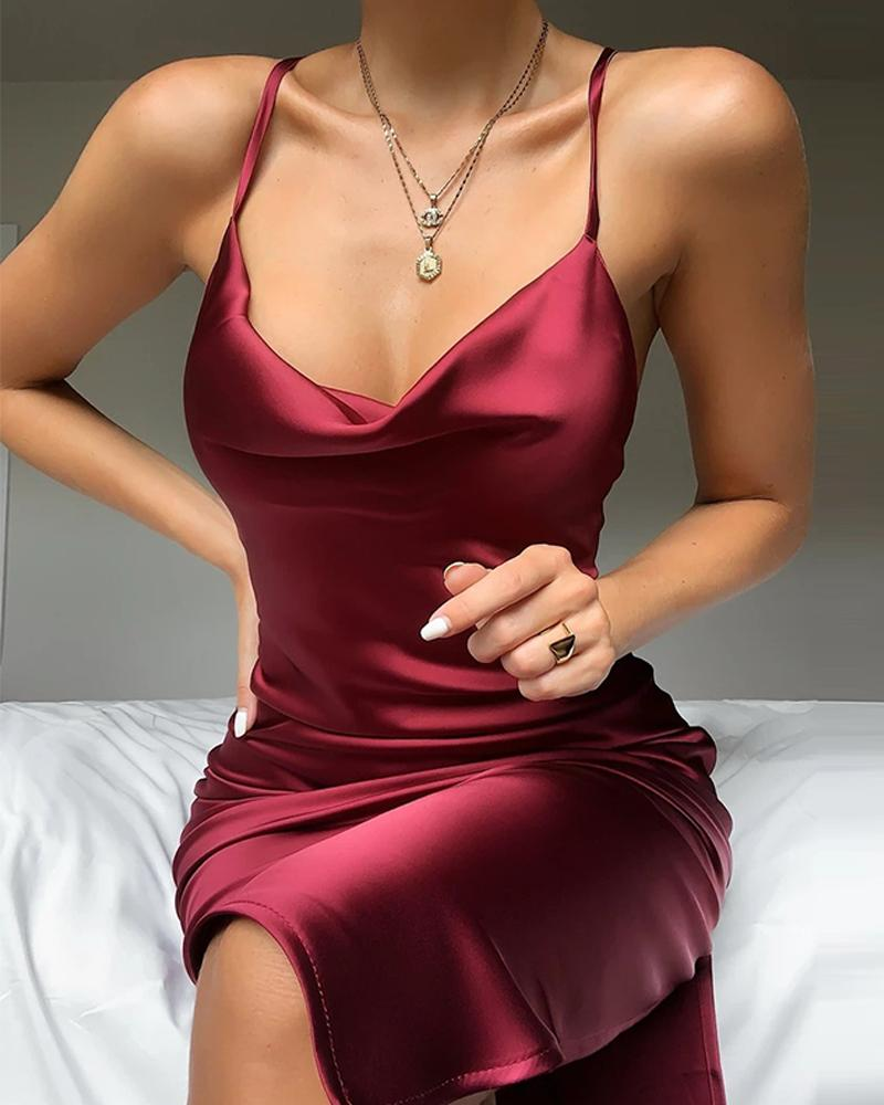 Sexy Plunge Neck Satin Mini Dress Women Spaghetti Strap Solid Night Party Dress Ladies Sleeveless Club Dresses