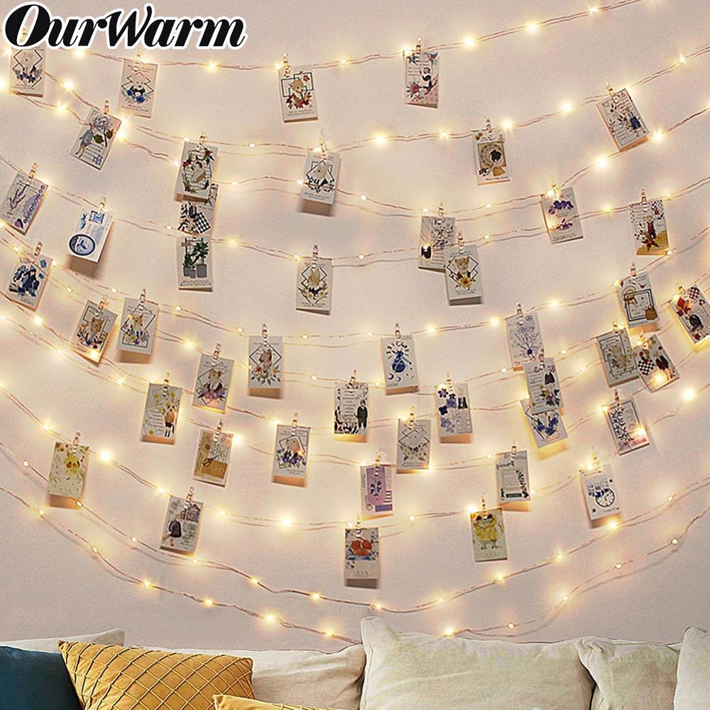 OurWarm 100 LED DIY Photo String Lights With Clip 10m Fairy Lights Party DIY Decorations For Home Wedding Birthday Supplies 2020