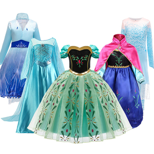 Image 1 - Snow Queen 2 NEW Elsa Anna Dress for Girls Elsa Halloween Fancy Clothes Children Party Cosplay Princess Costume Accessories Wig