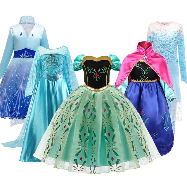 Snow Queen 2 NEW Elsa Anna Dress for Girls Elsa Halloween Fancy Clothes Children Party Cosplay Princess Costume Accessories Wig