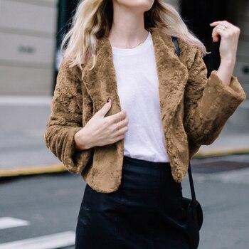 Autumn Winter Coat Women Casual Turn Down Collar Faux Coat Plush Warm Short Jackets Fur Elegant Outerwear Female Overcoat