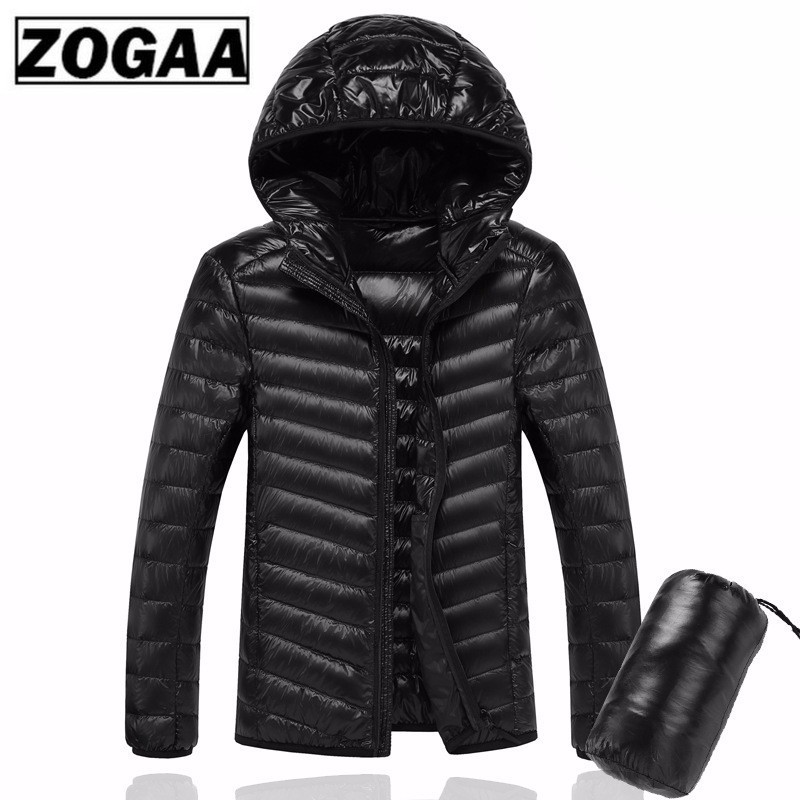 ZOGAA 2019 Men's Winter Hooded UltraLight White Duck Down Jacket Male Warm Jacket Line Portable Package Men Pack Jacket For Men
