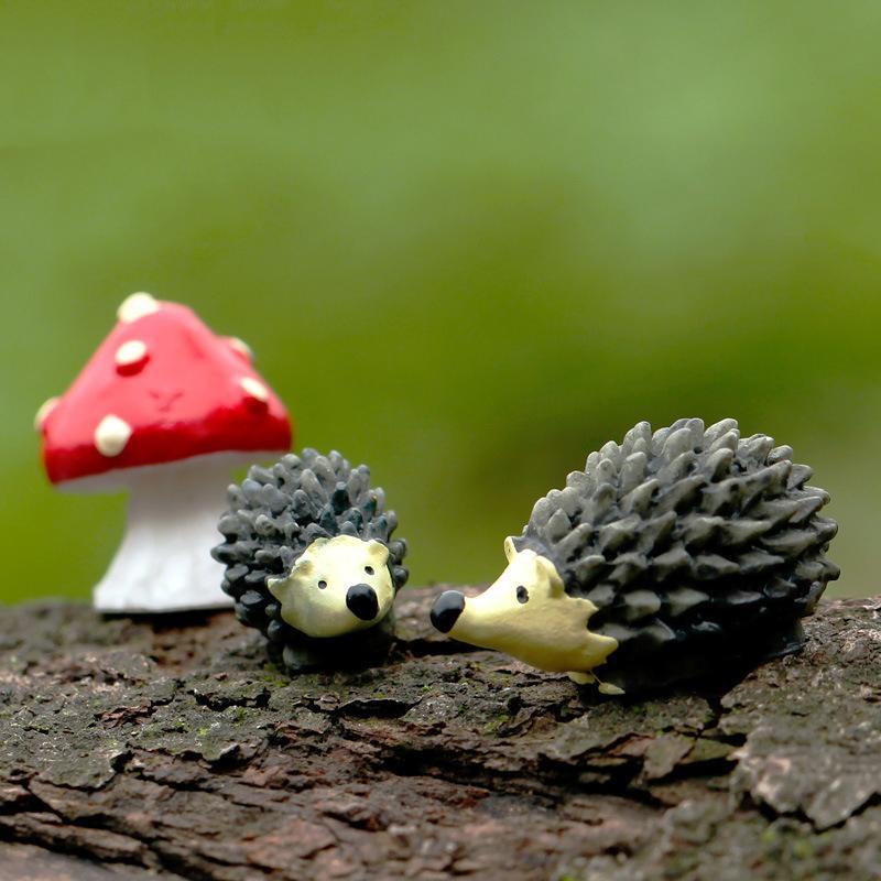 1/3Pcs Miniature Ornament Hedgehog Mushroom Set Decor Fairy Garden Hot Mini Hedgehog Mushroom Set Decorations For Home