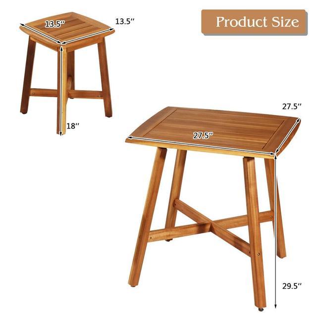 5PCS Acacia Patio Table & 4 Stools  2