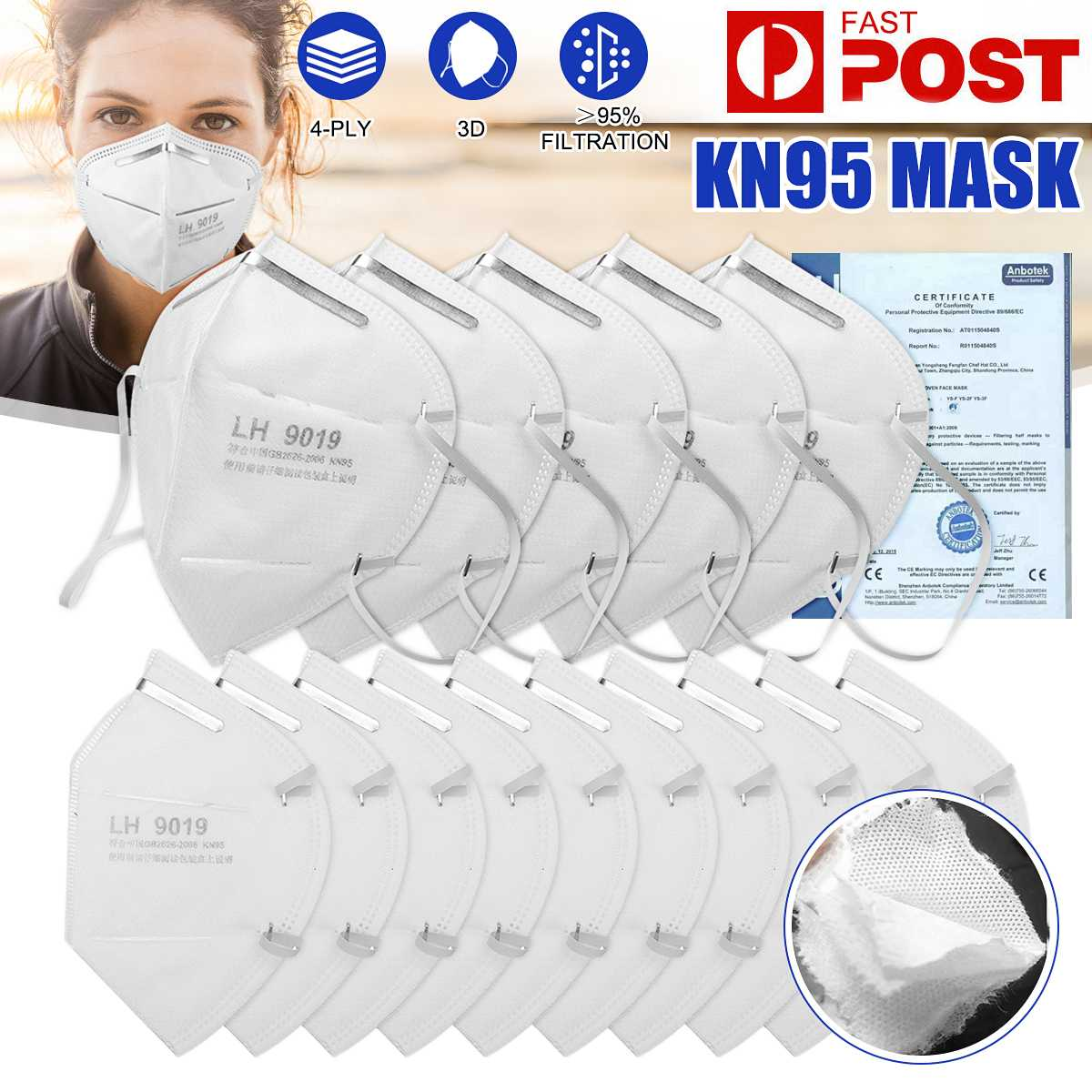 100PCS KN95 Mask Mouth N95  Mask FFP2 Face Mask 95% Filtraion Cotton Mouth Masks Anti-Dust 4-layer Protective Cover Mask