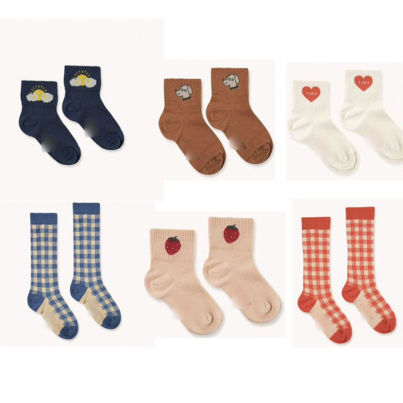 EnkeliBB Brand 2020 New Kids Cute Tube Socks Love Strawberry Plaid Print Socks Baby Cotton Lovely Design Sock