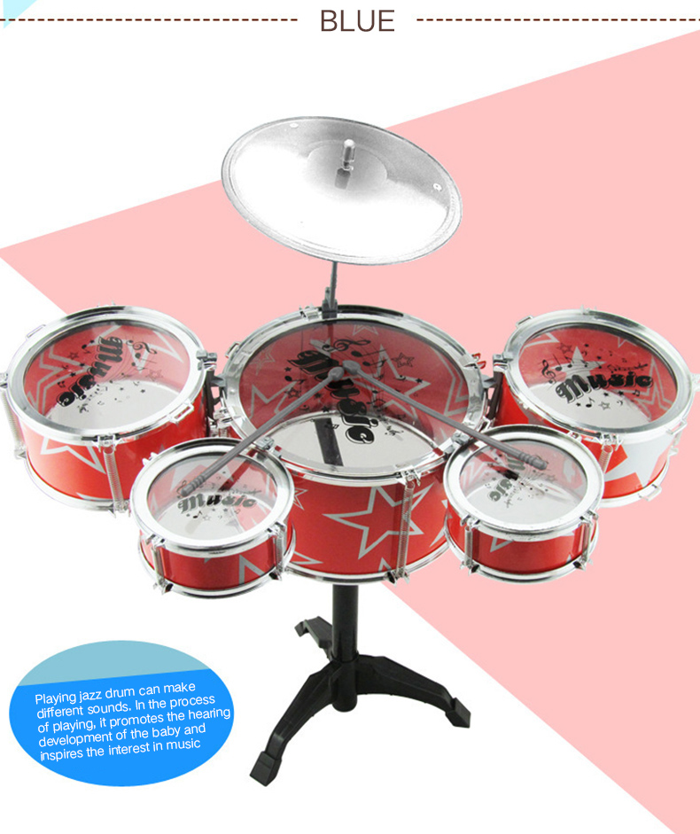 Kids Plastic Drum Set w// Stool Beat Toy Instrument Red Interest Cultivation