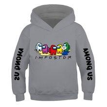 Crianças estilo rua jogos hip ho 3-14years entre nós crianças tamanho comic moda hoodie meninos e meninas manga longa camisolas com capuz