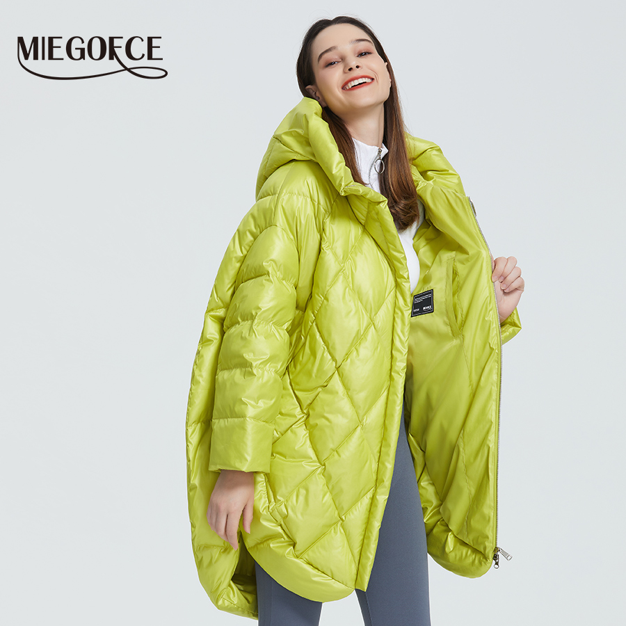MIEGOFCE 2019 New Design Luxury Women's Jacket Bright Colors Casual Loose Coat Warm Oversized Women's Parka Puffed Collar Hooded