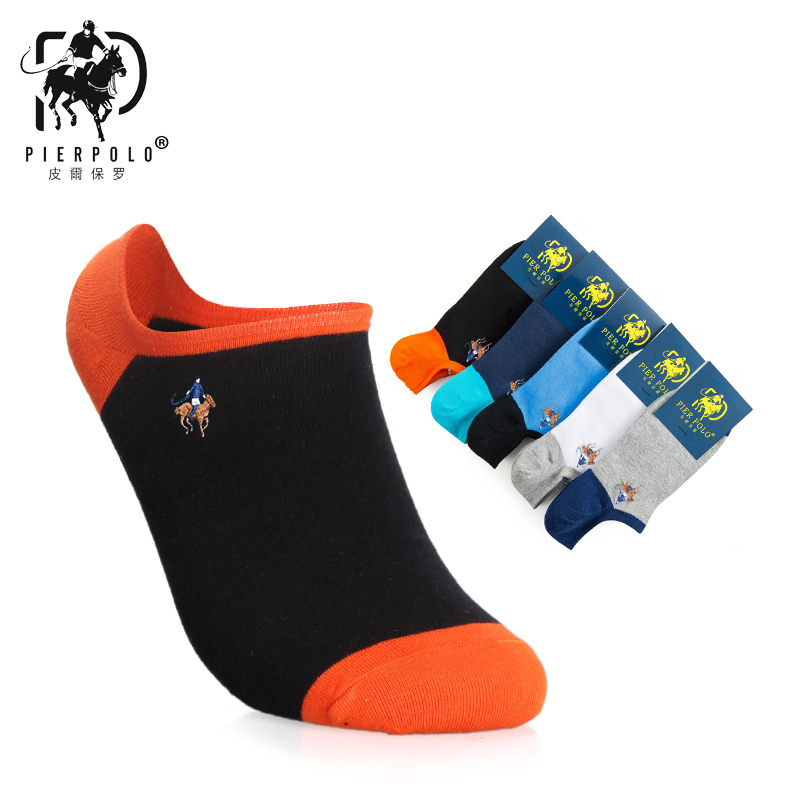 2019 New Fashion Sock For Men PIER POLO Summer Men's Solid Color Cotton Socks Boat 5 Pairs Sexy Man Invisible Socks For Mens