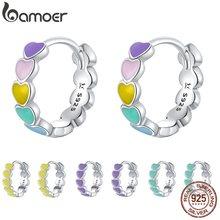 Bamoer – boucles d'oreilles en forme de cœur pour femme, en argent Sterling 925, émail couleur arc-en-ciel, nouveauté 2020, SCE909