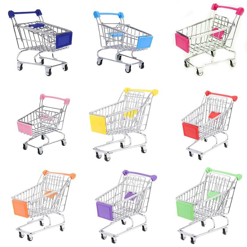 Supermarket Mini Cart Dollhouse Accessories Stainless Steel Handcart Simulation Supermarket Food Storage Cart Phone Stand Decor