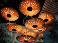 Fashion Led Handmade Veneer Pendant Light Bamboo Living Room Lights Restaurant Lamp S pendant lights
