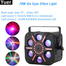 70W 6 Eyes Laser Strobe Effect Light 5X8w RGBA Single Color Beam Light Professional DJ Disco Stage Equipment Lamp DMX Control(China)