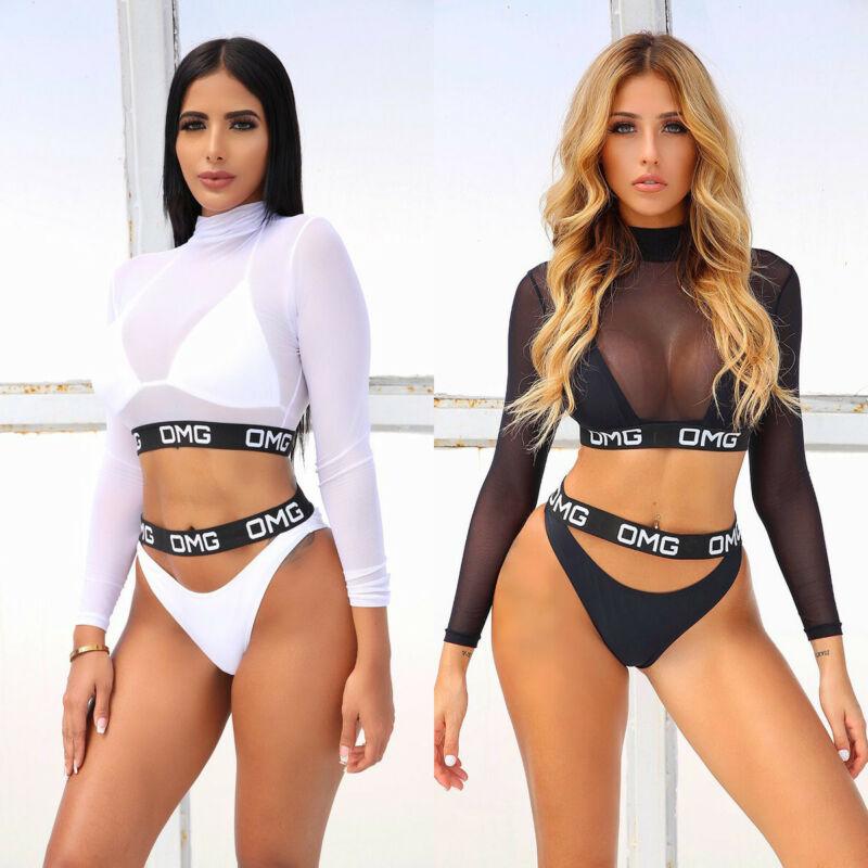 3PCS Sexy Women Bikini Set Mesh OMG Letter Swimwear Bathing Beachwear Swimsuit Swimming Costumes