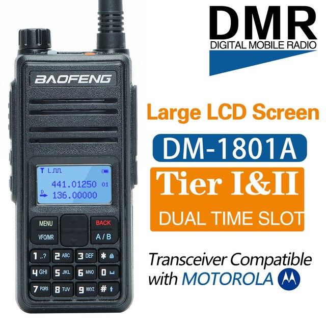 Baofeng DM 1801A Talkie walkie Double Créneau Horaire DMR Niveau I & II Radio Analogique Double Bande 136 174/400 470MHz Chasse DM 5R Plus