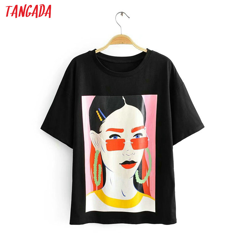 Tangada Women Stylish Character Print T Shirt Short Sleeve O Neck Basic Tees Ladies Summer Streetwear Chic Tops Camisetas 2R06