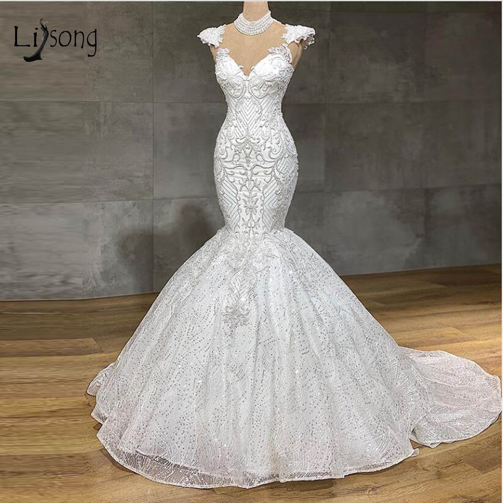 Real Image Lace Mermaid Wedding Dresses Sparkle Beaded See Thru Back Sexy Bridal Gowns Custom Made Wedding Gowns