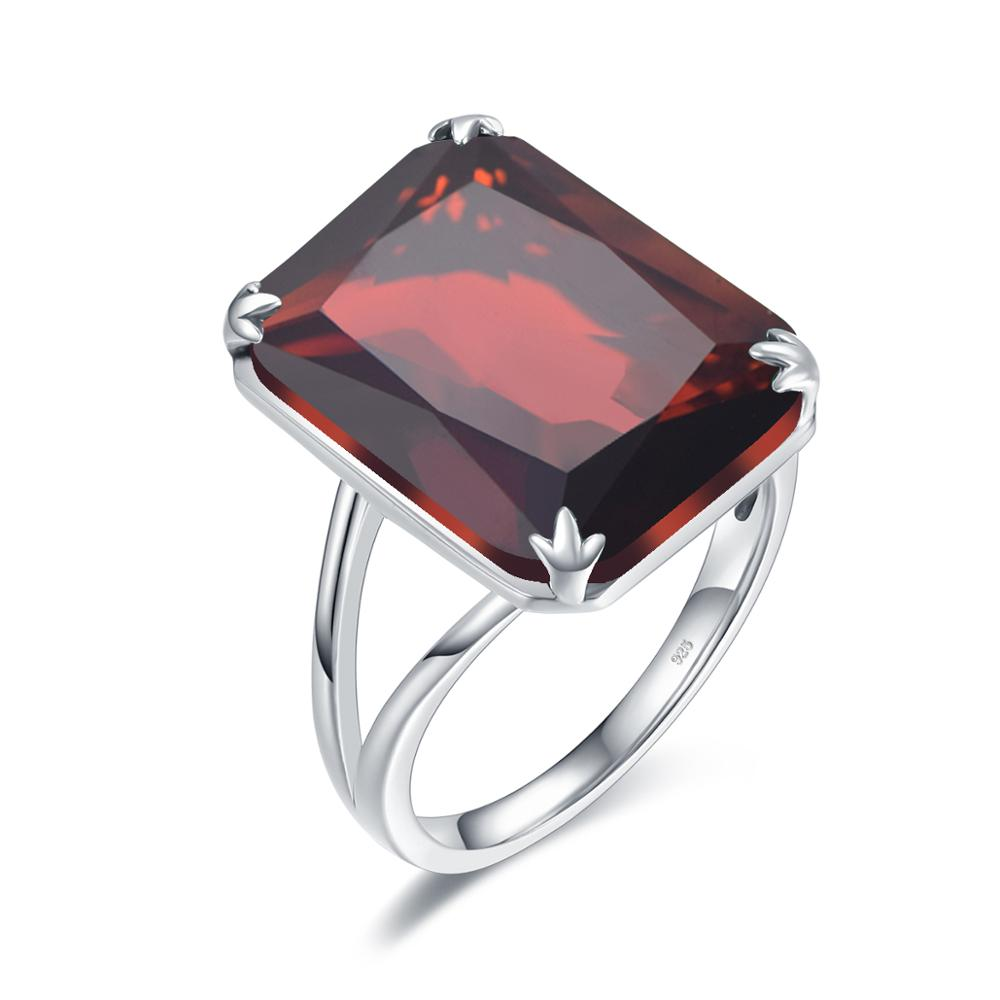 Silver Rings For Women Real 925 Sterling Silver Sparkling Garnet Ring Gemstone Rectangle Classic Luxury Women Jewelry Handmade