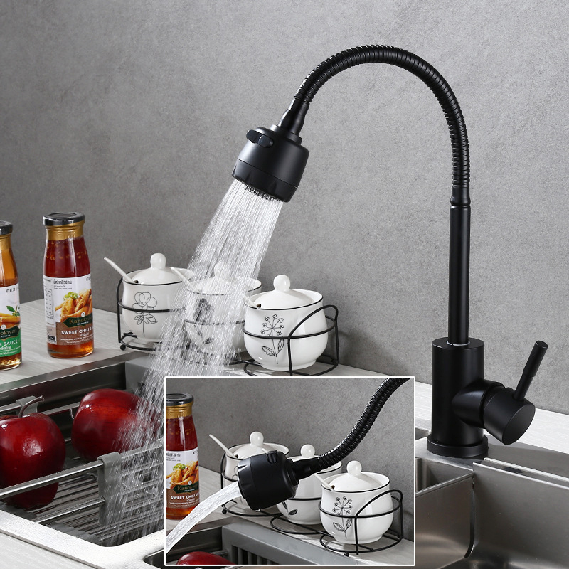 Matte Black Kitchen Faucet Stainless Steel Pull Down Basin Sink Spray Tap Mixer Tap 360 Degree Rotatable Flexible Single Handle