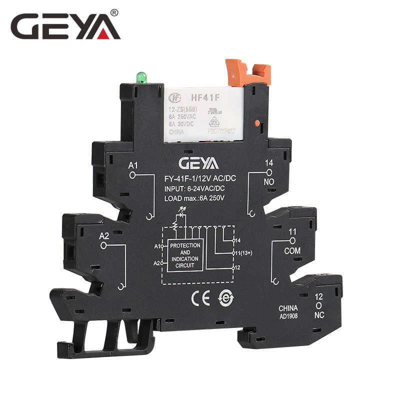 Miễn Phí Vận Chuyển GEYA 6.2Mm Độ Dày Din Đường Sắt Mỏng Module Relay 6A 1NO1NC Relay 12V 24V 230V