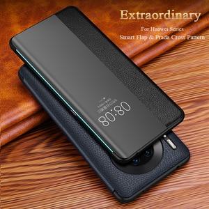 Image 2 - Fenêtre de vue intelligente de luxe P40pro étui à rabat pour Huawei P40 P30 P20 Mate 30 20X 5G 10 Pro Lite P10 Plus couverture de téléphone en cuir véritable