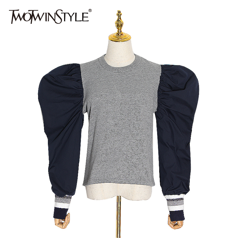 TWOTWINSTYLE Patchwork Hit Color Sweatshirts For Women O Neck Puff Sleeve Streetwear Sweatshirt Female 2020 Spring Fashion New