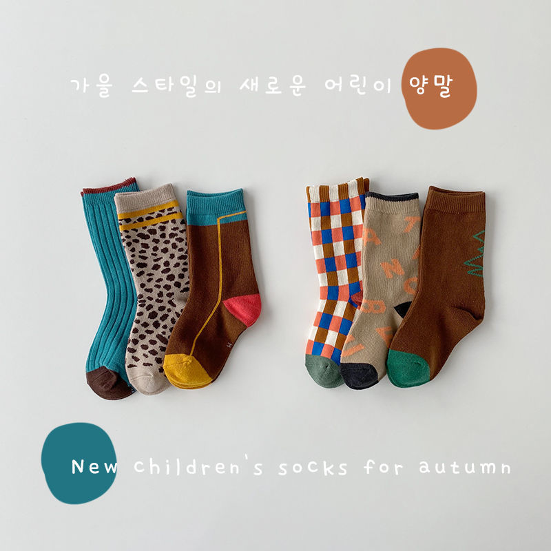3 пары, модные клетчатые носки для малышей, стильные детские хлопковые носки для мальчиков и девочек, детские носки в Корейском стиле, носки ...