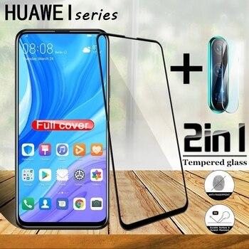 Перейти на Алиэкспресс и купить 2 в 1 полное покрытие 9D закаленное стекло для Huawei Y9 Prime Y9s Y7 Pro Y7p Y7 Prime Y6 pro Y6s Y5 Lite (2019) Стильная защитная пленка для экрана