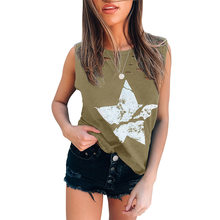 2021 verão feminino tanque de cor sólida em torno do pescoço sem mangas t estrela impresso buraco t camisa pulôver colete feminino rua hipster