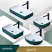 Скандинавский матовый зеленый керамический раковина умывальник шланг для ванной комнаты на раковине бытовой простой контейнер для ракови
