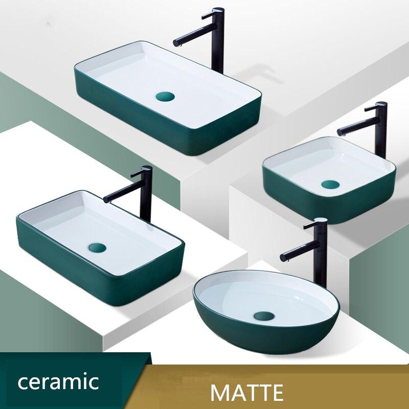 Lavabo en céramique vert mat nordique évier salle de bain comptoir sur évier