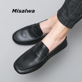 Misalwa Cow Split Leather Men Moccasins Soft Comfortable Men's Flats Smooth Slip-on Classic Male Loafers Casual