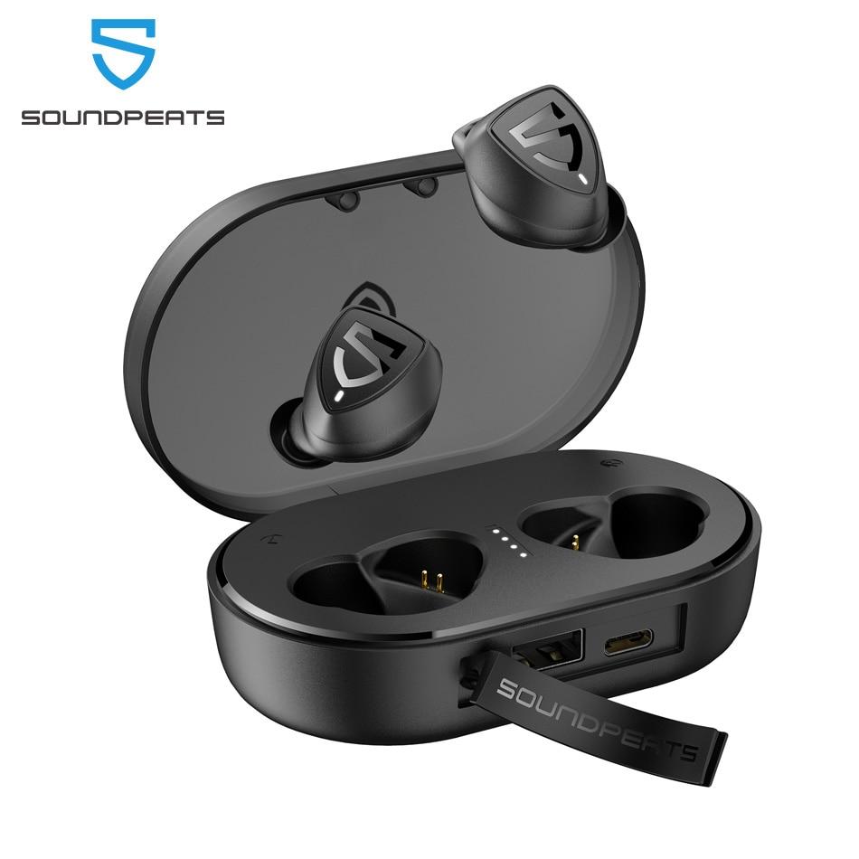 SoundPEATS наушники-вкладыши TWS Bluetooth 5,0 True Беспроводной стерео наушники Trueshift 2 in-Ear Беспроводной наушники IPX7 Водонепроницаемый Тип C гарнитурой
