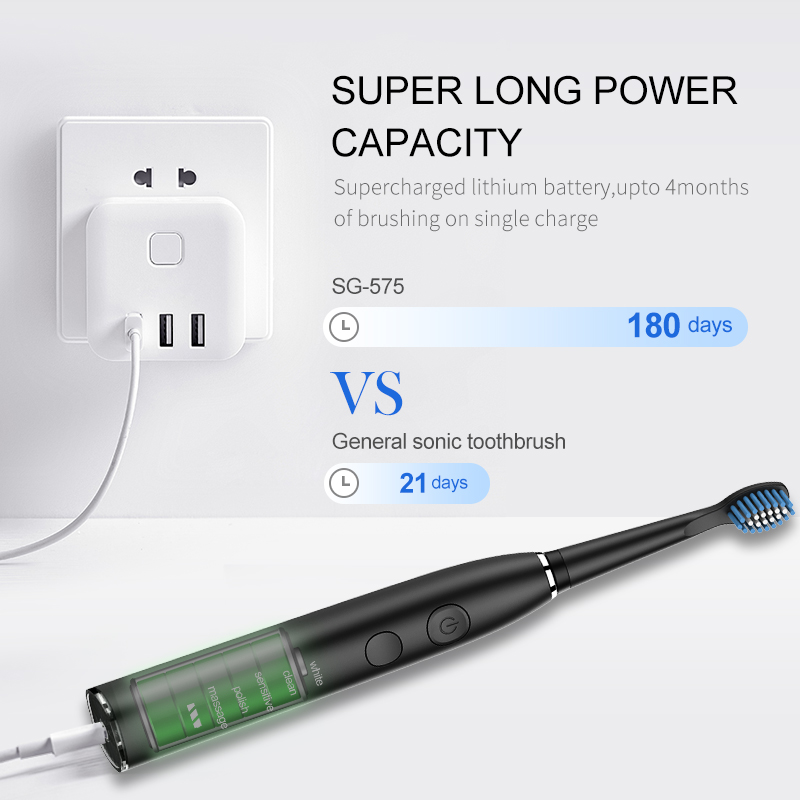 Seago Electric Toothbrush SG-575 Sonic Clean Teeth 5 Clean Modes USB Recharageable 4 Replacement Brush Heads + 1 Indental Brush