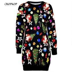 Dress Paty Women Dress Autumn Christmas Printed Long Sleeve Short Mini Female Fahion Clothing 2019 Casual Ladies Vestido Vintage 1