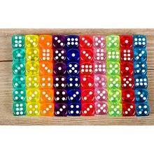 10 Pz/lotto Dadi Set 10 Colori di Alta Qualità Acrilico 6 Trasparente Su Due Lati Dadi Per Club/Partito/Giochi Per La Famiglia 14 millimetri