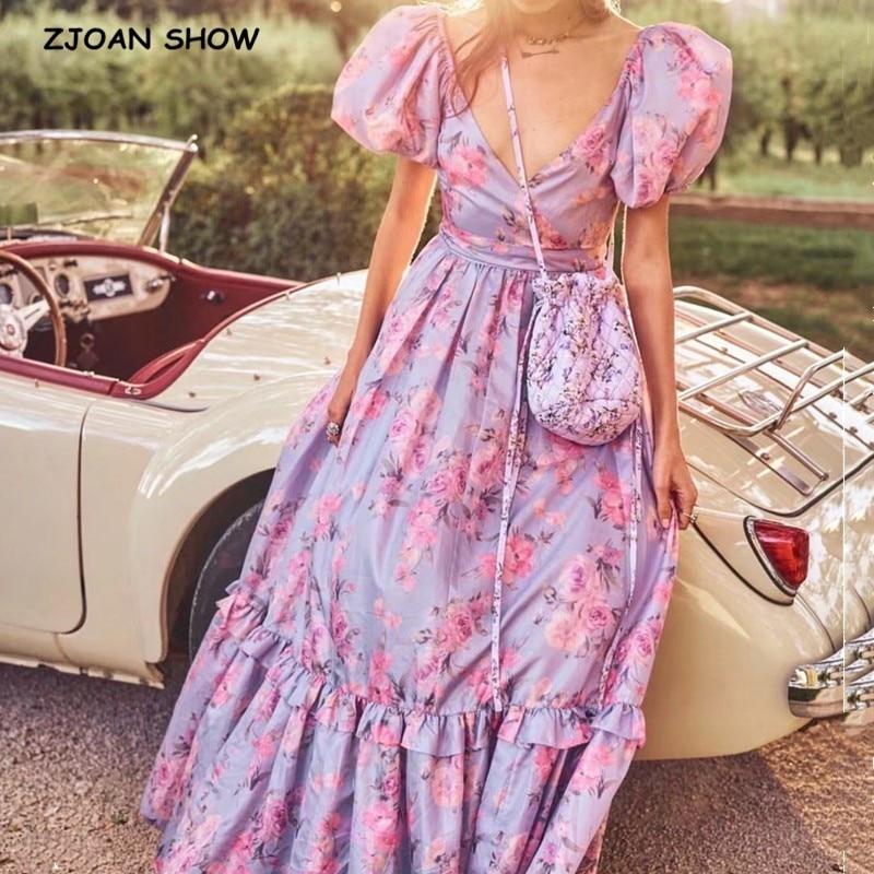 2020 Bright Like Silk Lavender Floral Print Ball Gown Dress Puff Sleeve Retro Women Tie Bow Waist Long Dresses Fairy Vestidos