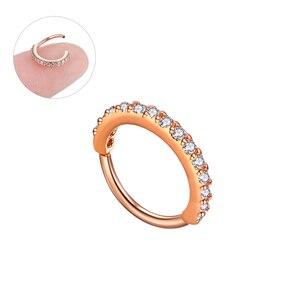 Image 3 - ต่างหูคริสตัลแหวนจมูกหู Tragus กระดูกอ่อน Hoop เหล็ก Rose Gold แหวนหูเล็บบุคลิกภาพเล็กๆวงกลมผู้หญิง