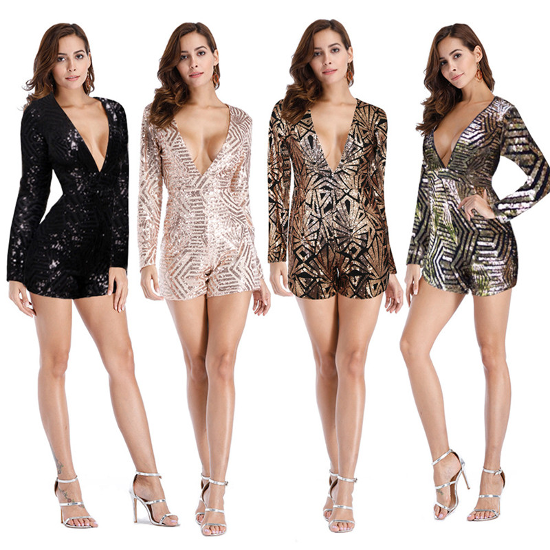 U Women Sequin Playsuits Sexy Bodycon Jumpsuit V-Neck Hollow Out Long Sleeve Streetwear Short Pants Party Romper Elegant Outwear