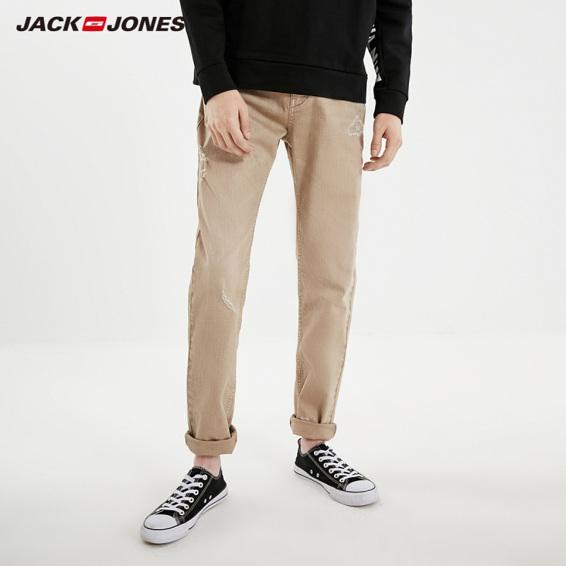 JackJones Men's Autumn&Winter Ripped Style Sanding Jeans| 219132538