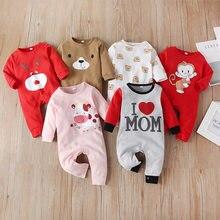 Malapina macacão do bebê recém-nascido roupas da menina do bebê menino uma peça roupa dos desenhos animados macacão infantil