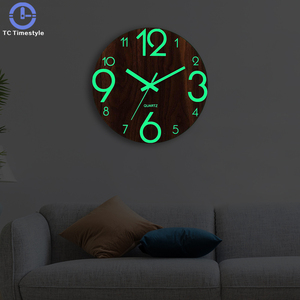 Wooden Wall Clock Luminous Number Hanging Clocks Quiet Dark Glowing Wall Clocks Modern Watches Decoration For Living Room(China)