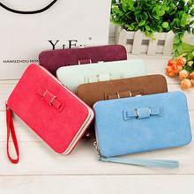 Women bowknot wallet long purse phone card holder clutch large