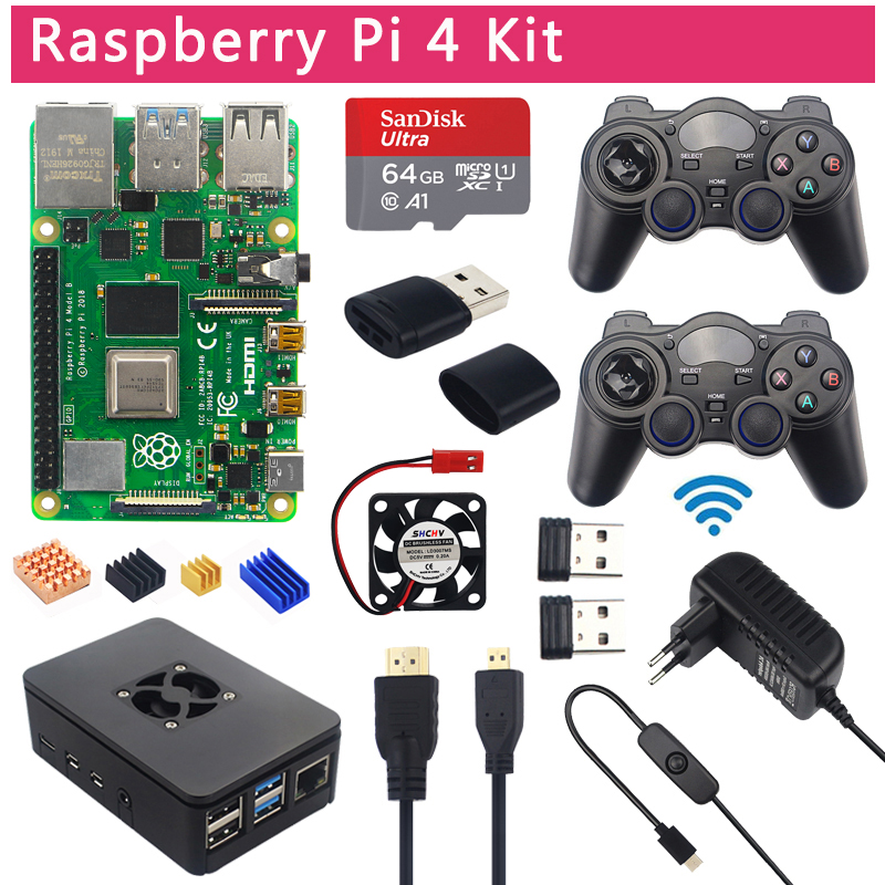 Raspberry Pi 4 Model B Game Kit 8GB + 2.4Ghz Wireless Gamepads + 64G 32G SD Card + Case + Switch Power Supply + Fan + HDMI Cable(China)