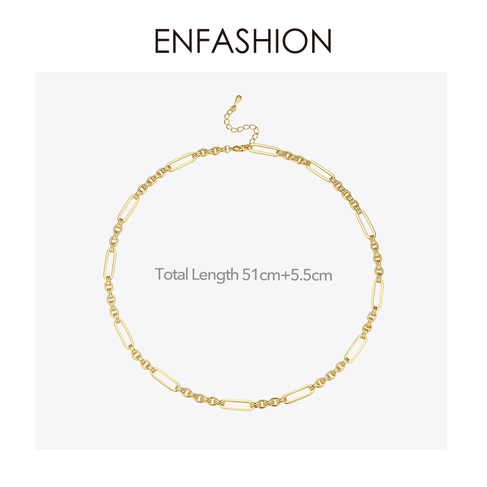 Image 5 - ENFASHION Long Link Chain Choker Necklace Women Gold Color Statement Necklace Lady Fashion Femme Jewelry Dropshipping P193059Chain Necklaces   -