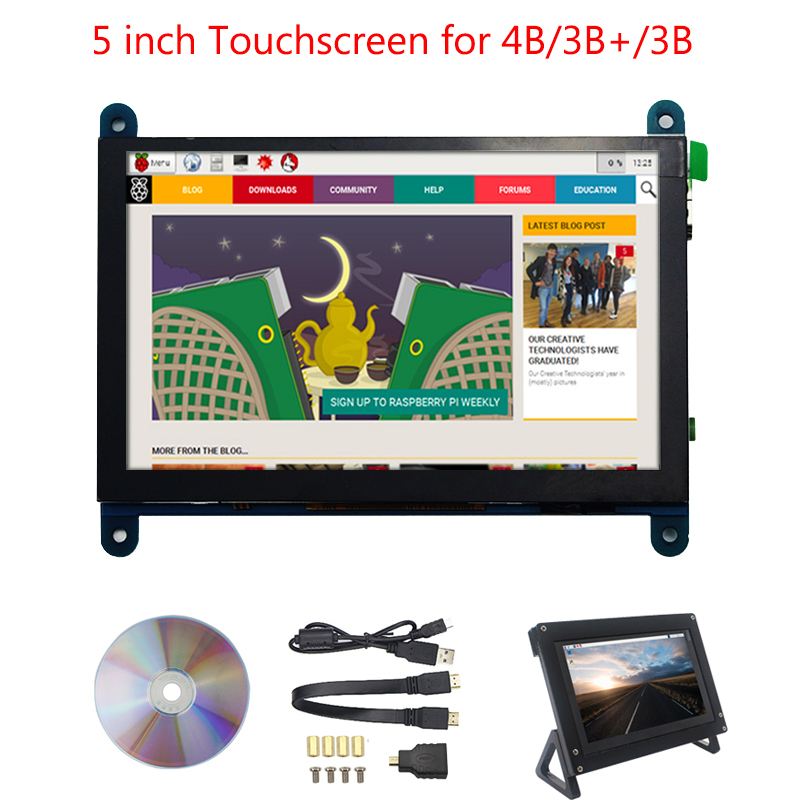 Raspberry Pi 4 Model B LCD Screen Touchscreen 5 Inch Capacitive 800*480 Display Module Compatible For Raspberry Pi 3 Model B+/3B
