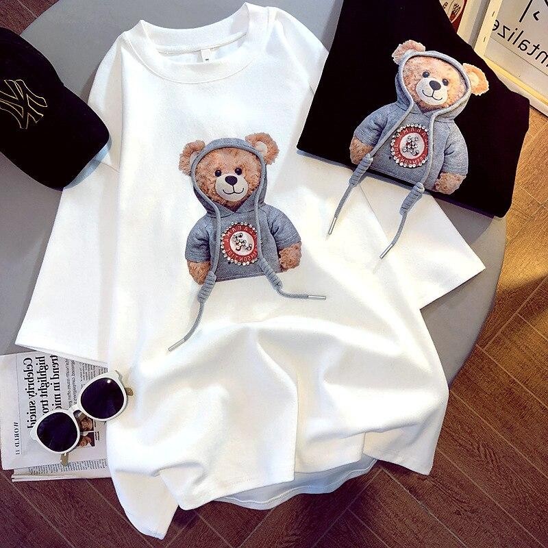 Camiseta de manga corta cepillada para mujer, ropa con estampado de oso, versión coreana, gráfica, primavera, verano y otoño, 2021