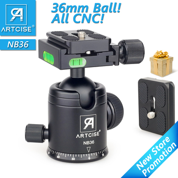 ARTCISE NB36 Tripod Head Panoramic Tripod Ball Head CNC Anodized Ballhead for DSLR Camera Extra Quick Release Plate as a Gift panoramic tripod head hydraulic fluid video head for tripod monopod dslr camera camcorder dv professional pan head extra plate